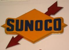 SUNOCO GASOLINE SIGN    Outdoor; molded plastic, framed; VG