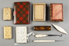 """Group of antique sewing equipment. Noted Tunbridge pin cushion; Melbourne exhibition needle book; """"Beatrice Patent"""" needle cases (2); Ivory ..."""