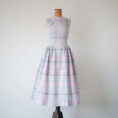 Vintage 1950s dress / grey gray white pink by BessGeorgette