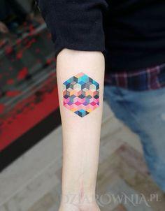 Tatuaż Kwadraciki - pozostałe, na przedramieniu, dla kobiet