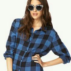 Blue flannel Perfect condition, just never wear it! Forever 21 Tops