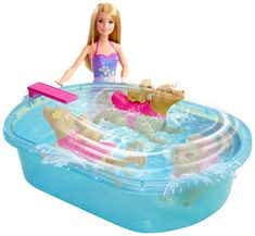 Dive into fun with this Barbie Blonde Hair Barbie Swimmin Pup Pool Set. Barbie wears a color-changing swimsuit and is ready for swimming lessons with the swimming mommy dog and puppy for complete pet play right out of the box! Mattel Barbie, Barbie 2013, Barbie Dolls, Barbie Camper, Mattel Shop, Baby Barbie, Barbie Stuff, Barbie Clothes, Toys For Girls