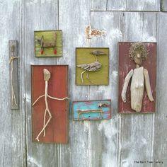 "Driftwood Found Art Woman (only) 12""x23"" OOAK Folk Art by TheBentTreeGallery $159"