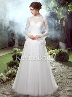 Sweep Train Long Dropped Waist Lace Ivory Flower Illusion Wedding Dress - US$ 119.99 - Style KB2579 - Kevins Bridal