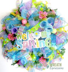 A beautiful, full Deco Mesh Wreath for Spring will invite all your Friends and family into your home with warmth and a smile.    This mesh