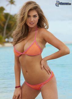 Kate Upton, maillot de bain orange, mer