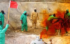 Tripoli, Libya: a team of Libyan experts and military engineers dismantle a rocket under the supervision of the UN. Experts were assigned to dump the toxic chemicals left over from the former Gaddafi regime