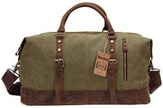 "Duffel Bag, Berchirly 21"" Large Canvas Leather Travel Spo..."