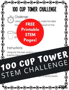 100 cup tower challenge with free PDF printable