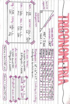 Meu resumo de trigonometria #estudos #Trigonometria #educação #matematica #enem #fuvest #escola #faculdade #ensinomedio #seno #cosseno #tangente #mapamental #mapa #resumo College Notes, School Notes, Math Notes, Study Organization, Study Planner, School Subjects, Study Hard, Study Inspiration, Studyblr