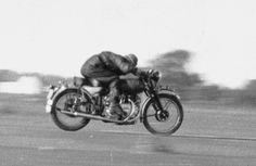 My dad doing 115 mph on his HRD Vincent Rapide in 1955.     (my father-in law)