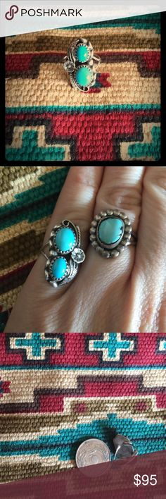 Two Stone Sleeping Beauty Silver Signed Ring This  Sterling silver Sleeping Beauty mined Turquoise ring features a beautiful matrix in this stone. Classy south west design making it  an excellent addition to anything in our closet! 🌞all items shined upon request🌞    💍 stamped Sterling, signed S.C. 🎨  🎉Check out our bundle rates! Make an offer, any offer! ✌🏼️💕😊   🌻Follow us on IG for free shipping! 🌻 @turkoiculture  👍our Facebook page: Turkoi ❤️Donations made to Cochiti Pueblo…