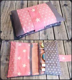Windeltasche-Sterne-Grau-Rosa-Wickeltasche-Pamperstasche-Unikat-Geschenk-Baby