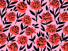 Red Peonies Art Print by Leah Reena Goren - X-Small Motifs Textiles, Textile Prints, Textile Patterns, Floral Patterns, Lino Prints, Block Prints, Graphic Design Pattern, Surface Pattern Design, Pattern Art