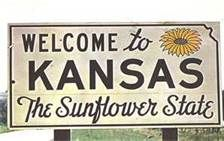 Kansas •~• Welcome to Kansas, The Sunflower State sign