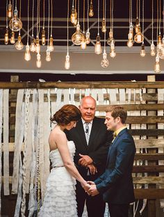 metropolitan New York wedding with hanging lights