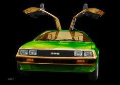 'DeLorean DMC-12 in black & future green-mix' von Arthur Huber bei artflakes.com als Poster oder Kunstdruck $20.79