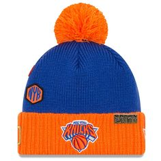 aff7ac0359f Men s New York Knicks New Era Royal 2018 Draft Cuffed Knit Hat With Pom