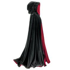 Black and Red Reversible Cape  A formal cape fit for a Count-or Countess! Created with an accent on the sumptuous, our deluxe, fully hooded, reversible evening cape falls in a lush, double-thick cascade of plush velvet, fitted with slit arm openings and a reversible black/red-velvet-covered button at the neck. Generously cut for graceful drape, it makes a fiery statement worn red side out.