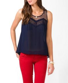 Dotted Lace Sheer Top | FOREVER 21 - 2031557135  Lace, dots, and it's sheer!!! How cute!!!