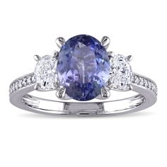 Miadora Signature Collection 14k White Gold Tanzanite and 5/8ct TDW Oval and Round Diamond Engagement Ring