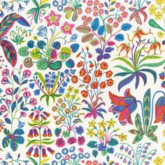 Under Ekvatorn is one of the boldest linen cretonnes that Josef Frank designed. He designed this luxurious print in September - Fabric Sample Under Ekvatorn, Linen Under Ekvatorn, White, Josef Frank Josef Frank, Flower Patterns, Color Patterns, Print Patterns, Textile Design, Fabric Design, Curtain Inspiration, Textile Museum, Textiles