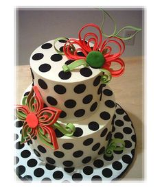 Polka dots and artistic flowers