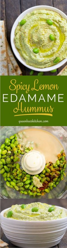 Spicy Lemon Edamame Hummus - so yummy and nutritious! And it's green :) (Spicy Party Mix) Edamame Salad, Whole Food Recipes, Cooking Recipes, Healthy Snacks, Healthy Eating, Vegetarian Recipes, Healthy Recipes, Vegetable Recipes, Recipes