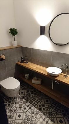 Guest toilet - retro tiles - oak - - ideas - Informations About Gäste WC – Retro Fliesen – - Retro Tiles, Bathroom Interior, Small Bathroom, Bathroom Decor, Guest Bathrooms, Bathroom Design, Guest Toilet, Tile Bathroom, Oak Bathroom