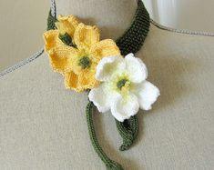 Spool+Knitting+Flowers+Patterns | PDF Knit Flower Pattern - Buttercup Knit Jewelry Necklace