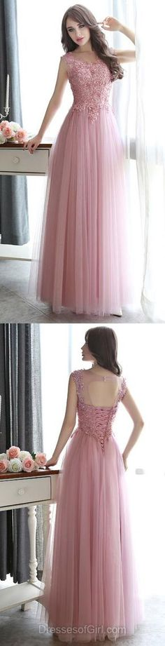 Modest Scoop Neck Tulle Pearl Detailing Lace-up Floor-length Prom Dresses