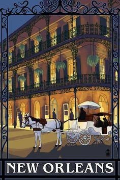 New Orleans, LA - French Quarter Wall Decor Travel Poster Vintage Art