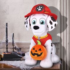 Indoor Halloween Decoration Holiday Greeter Paw Patrol Marshall With Pumpkin New…
