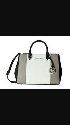 92cb9f6ef81c top handle bags  MICHAEL Michael Kors Center Stripe Sutton Medium Dressy  Tote in Pearl Grey White Black