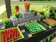 Some of the food table from my son's Minecraft birthday party. jnsteele