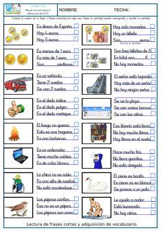 Comparto mi nuevo proyecto de comprensión lectora de frases cortas. 3 fichas con un total del 48 imágenes y más de 100 frases cortas para