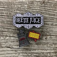 3 Pack of our Beetlejuice pins!  Includes the Betelgeuse sign, the logo pin and the gravestone
