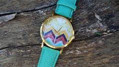 Check out this item in my Etsy shop https://www.etsy.com/listing/222646659/chevron-watch-teal-aztec-watch-tribal