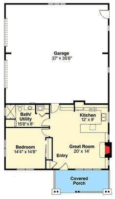 Small Home and Big Garage - floor plan - Main Level Little House Plans, Pool House Plans, Barn House Plans, New House Plans, Barn Plans, Garage Apartment Floor Plans, Garage Floor Plans, Garage Apartments, Poll Barn House