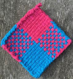 Cotton loop pot holder, pink blue potholder, woven trivet, oven mitt, hot pad, small potholder, home decor, housewarming gift, decor gift by NeverNotWeaving on Etsy