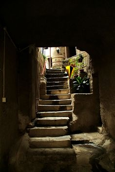 Old stairway in Bard, Valle d'Aosta, Italy | by Villasante | via fairytale-europe