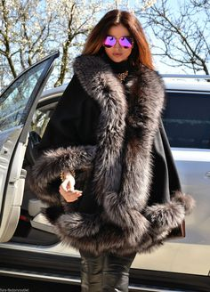 2015 Milano Silver FOX FUR Cashmere Poncho Class Mink Sable FOX Coat Jacket Saga | eBay