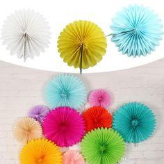 Los Honey Comb Fan Seidenpapier Blumen Partei Hochzeits Pompoms Home Decoration Supplies 12 Inch