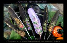 Mabon Harvest Quill Pens by ChaeyAhne on DeviantArt Raven Feather, Feather Art, Feather Pens, Air Magic, Wiccan Crafts, The Violet, Feather Crafts, Feather Painting, Mabon