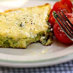 Zucchini, goat cheese and basil frittata, an easy vegetarian egg dish.