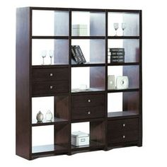 BH Design�Wenge 76-in Bookcase: Please note depth for David's room.  Collection Name	N/A Manufacturer Color/Finish	Wenge Style	Transitional Assembled Height (Inches)	76.0 Assembled Width (Inches)	69.0 Assembled Depth (Inches)	15.0 Package Quantity	1.0 Number of Drawers	6.0 Number of Shelves	0.0 Removable Shelves	No Number of Doors	0.0 Some Assembly Required	Yes Color/Finish Family	Other