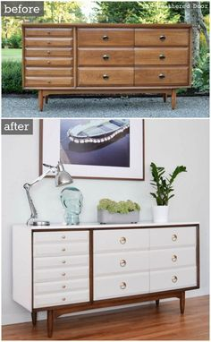 LA Period Mid Century Modern Dresser before and after #paintedfurniturebeforeandafter