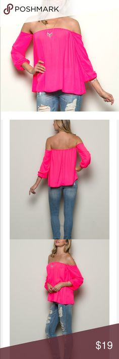 4th of July SaleOFF THE SHOULDER TOP PRETTY IN PINK is a must for every girl. Rock this neon pink off shoulder top with those denim jeans or shorts that you love so much.  ***REASONABLE OFFERS WELCOME *Only available in neon pink.  *Available in small, medium and large.  *100% Polyester  *Made in USA *100% Cute Tops Blouses