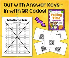 Out with Answer Keys - In with QR Codes! Learn how QR codes can add excitement to your task card activities while solving the answer key problem. Free set of Telling Time task cards, too!