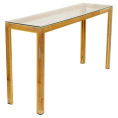 Brass, Chrome, and Glass Console Table
